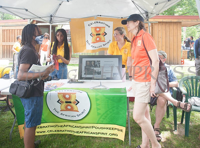 Celebrating the African Spirit participated in the Juneteenth Celebration in Mansion Park followed the mural dedication of Tree Arrington at the Family Partnership Center in Poughkeepsie on Saturday, June 19, 2021. HUDSON VALLEY PRESS/ Chuck Stewart, Jr.