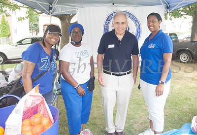 Members of Zeta Phi Beta Sorority Inc. with NYS Assemblyman Jonathan Jacobson at the Juneteenth Celebration in Mansion Park followed the mural dedication of Tree Arrington at the Family Partnership Center in Poughkeepsie on Saturday, June 19, 2021. HUDSON VALLEY PRESS/ Chuck Stewart, Jr.