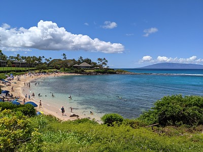 Kapalua Beach, our favorite for sunning and snorkeling.