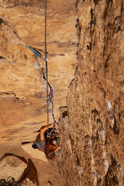 """Kate on """"Lion's Jaw"""" 5.8 at the Morning Glory Wall."""