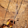 """Tracy on """"Lion's Jaw"""" 5.8 at the Morning Glory Wall."""