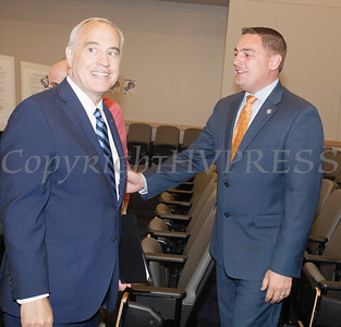 NYS Comptroller DiNapoli talks with NYS Senator Mike Martucci following the announcement of felony guilty pleas in the Orange County IDA case on Monday, June 21, 2021. HUDSON VALLEY PRESS/ Chuck Stewart, Jr.