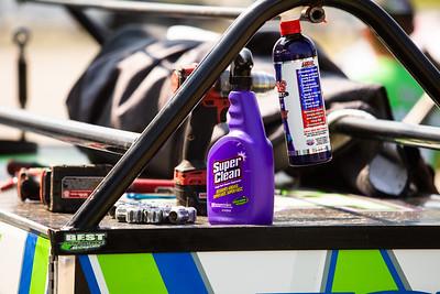 Super Clean and Lucas Oil Slickmist bottles