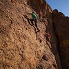 """A father and son race between Michael on """"Amelia Dearheart"""" (5.7) and Wes on """"9999"""" (5.6) at the Waterfall Slab."""