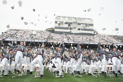 Cadets toss their hats following the United States Military Academy Class of 2021 graduation and commissioning ceremony held on Saturday, May 22, 2021 in West Point's Michie Stadium. Hudson Valley Press/CHUCK STEWART, JR.