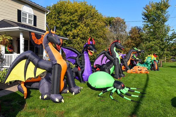 211010 Halloween Enterprise 3<br /> James Neiss/staff photographer <br /> Wrights Corners, NY - The Kubiniec family's ever growing halloween display at 3848 Lockport Olcott Road in Wrights Corners.