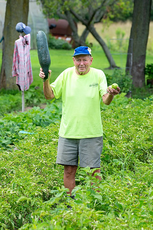 210722 Enterprise 2<br /> James Neiss/staff photographer <br /> Pendleton, NY - Based on the size of his zucchini it was obvious that the scarecrow Dino Ceccato made for his Bear Ridge Road garden kept all the critters away! Ceccato said he loves to garden and it's looking good he'll have a great harvest of Zucchini, Tomatoes, Eggplant, Peppers, Pumpkins and Corn he said.