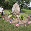 210722 Enterprise 3<br /> James Neiss/staff photographer <br /> Sanborn, NY - For Their Service - Marshal Chapin of Wheatfield plants a flag as he and Mike Cushman clean up the veterans monument at the Free Methodist Church Park in Sanborn.