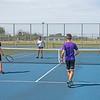 210722 Summer Tennis 2<br /> James Neiss/staff photographer <br /> Sanborn, NY - NFHS Summer Tennis Clinic - Niagara Falls tennis players, from left, Sal Constantino, Madisyn Colvin, Maxwell Chiarella and Tre Augustino participate in a NFHS summer tennis clinic.