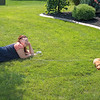 210913 Lawn Enterprise<br /> James Neiss/staff photographer <br /> Wheatfield, NY - The grass was actually greener at the Lapusnak residence on Skylark Lane in Wheatfield where Michelle & John Lapusnak and their dog Oscar decide to spend the afternoon enjoying the late summer sunshine.