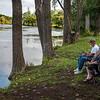 210914 Bond Lake Enterprise<br /> James Neiss/staff photographer <br /> Sanborn, NY - Betty and Douglas Geiser of the Town of Niagara, enjoy a lazy quiet morning listening to the quiet and doing a little fishing at Bond Lake. Betty said she worked a night shift and found nothing more relaxing than fishing with her husband.