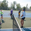 210722 Summer Tennis 1<br /> James Neiss/staff photographer <br /> Sanborn, NY - NFHS Summer Tennis Clinic - Coach Madison Dalporto, second from left, and students talk tennis before hitting the courts. Niagara Falls' boys and girls tennis coaches are hosting twice-weekly training sessions during the summer, each Tuesday and Thursday from 4-6 p.m.  From left are, Sal Constantino, Coach Dalporto, Maxwell Chiarella, Madison Whisnant, Madisyn Colvin and Tre Augustino.