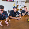 210910 NFFD 9_11<br /> James Neiss/staff photographer <br /> Niagara Falls, NY - Niagara Falls Firefighters, from left, Peter Difrancesco, Luke Marin and Joey Tardibuono talk about their 9/11 experience as 10 year olds, 20 years ago.