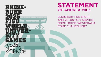 Statement of Andrea Milz, Secretary for Sport and Voluntary Service, North Rhine-Westphalia State Chancellery