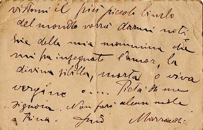 August 14, 1917. Postcard by Dino Campana to Eleonora Tallone, Alberto's mother.
