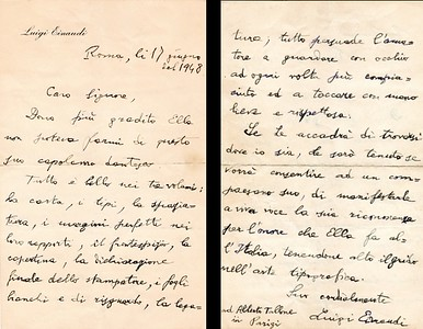 1948. Letter of appraisal from Luigi Einaudi, President of the Italian Republic.