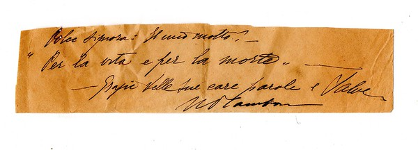 (date unknown, circa 1920s) Autograph note by Dino Campana to Eleonora Tallone.