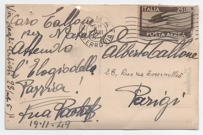 1949. Postcard by actress Paola Borboni to Alberto Tallone.