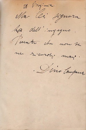 Handwritten dedication by Dino Campana to Virginia Tango, Alberto Tallone's aunt.