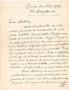 "1949. Sibilla Aleramo encloses to her letter the inedit essay ""Genesi della poesia"" and 26 poems. She wishes Madino (nickname for Alberto Tallone) would publish them."