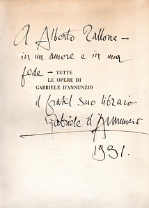 "1931, Gabriele d'Annunzio dedicates a copy of his books to ""his brother the bookseller"" Alberto Tallone."