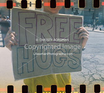 Free hugs outside of Grant Park, Chicago
