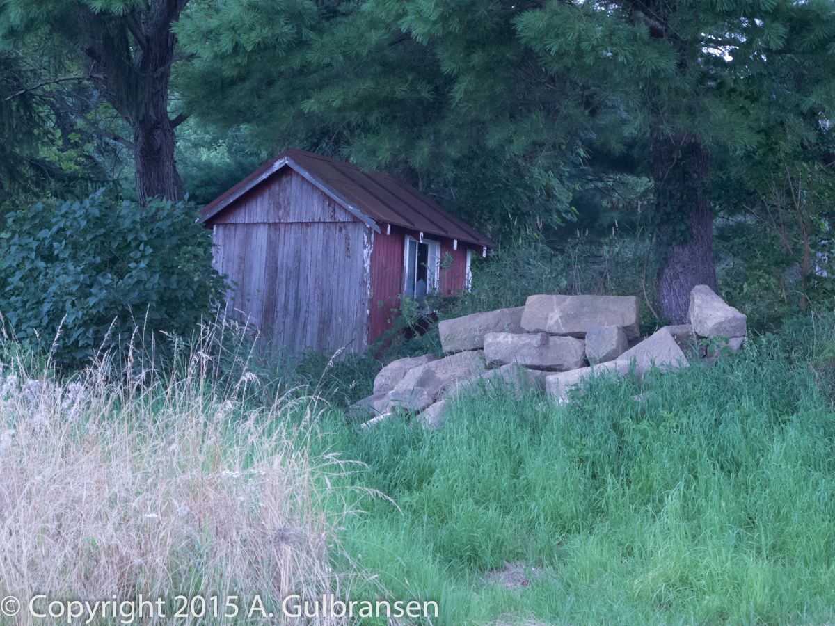 Old milk shed with barn stones