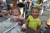 Peyton Lawler age 2 and sister<br /> Ashley Lawler age 4 Orland Park<br /> making sand art