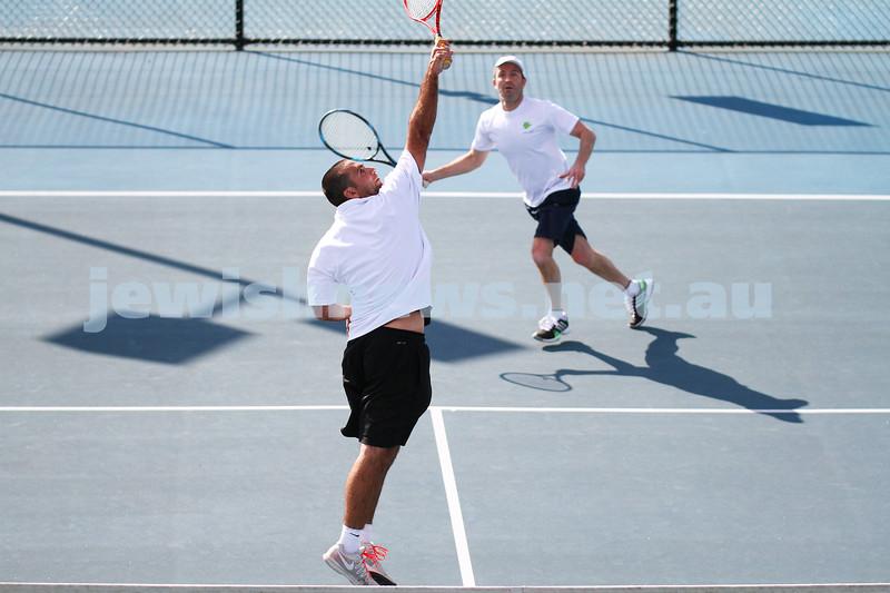 23-8-14. Maccabi tennis Grade 3 Pennant def Kooyong.  Asaf Nagar (front), Joel Fredman. Photo: Peter Haskin