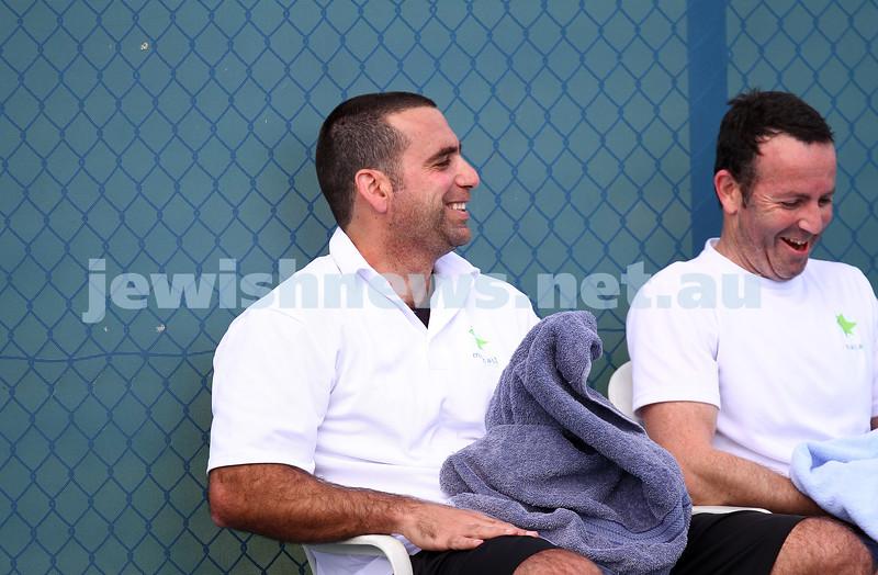 23-8-14. Maccabi tennis Grade 3 Pennant def Kooyong.  Asaf Nagar (left), Joel Fredman. Photo: Peter Haskin