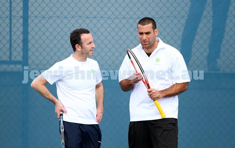 23-8-14. Maccabi tennis Grade 3 Pennant def Kooyong.  Joel Fredman (left), Asaf Nagar. Photo: Peter Haskin