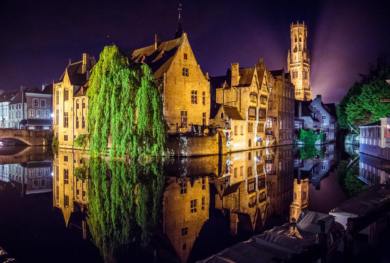 Evening in Bruges, Belgium.