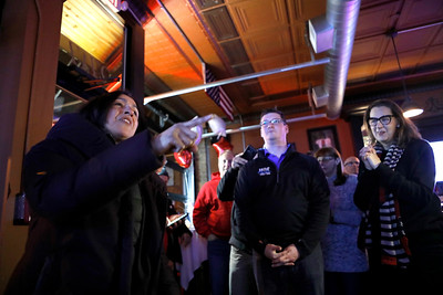 24th District Illinois House Democratic incumbent Lisa Hernandez talks to her volunteers and supporters March 20 at V Bar in Berwyn after claiming victory.
