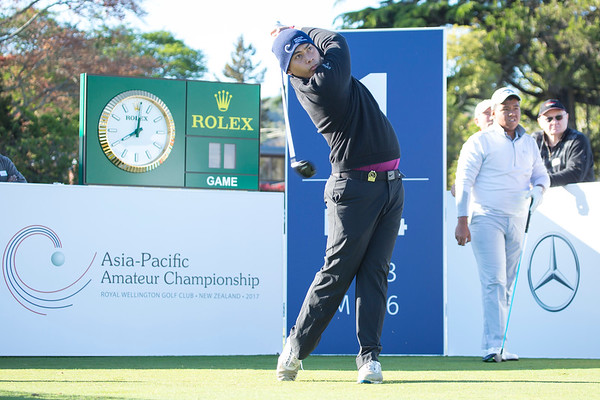 Seng Vaseiha from Cambodia teeing off on Practice Day 2 of the Asia-Pacific Amateur Championship tournament 2017 held at Royal Wellington Golf Club, in Heretaunga, Upper Hutt, New Zealand from 26 - 29 October 2017. Copyright John Mathews 2017.   www.megasportmedia.co.nz