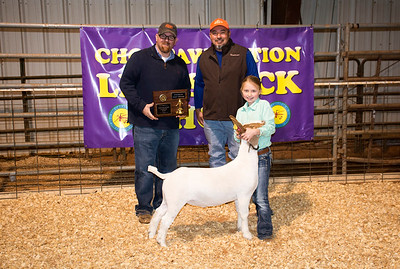 Josie Fortner of Tupelo, Junior Showman Goat; also pictured judge Ronnie Nix