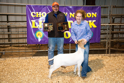 Taylor Chambers, Champion, Senior Showman, and Reserve Division Champ Goat, Tushka