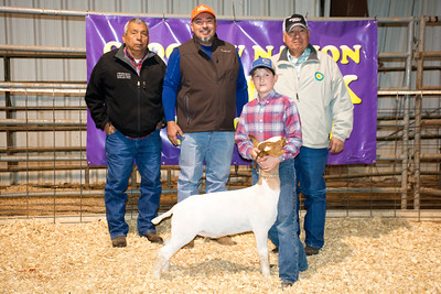 Riley Ross, 1st place class 1 goat, goes to school at Ryan OK, lives in Terrell