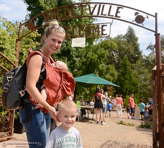 Danielle Horn of Chico brings 2-year-old Levi and 2-month old Blake to see the sights during the 25th annual Days of Living History   at the Gold Nugget Museum in Paradise, Calif. Saturday, Sept. 8, 2018.  (Bill Husa -- Enterprise-Record)