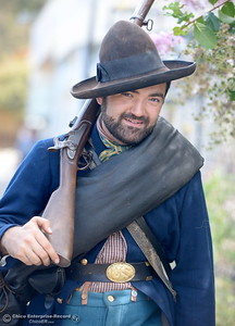Quinn Neves portrays a Federal Soldier circa 1863 during the 25th annual Days of Living History   at the Gold Nugget Museum in Paradise, Calif. Saturday, Sept. 8, 2018.  (Bill Husa -- Enterprise-Record)