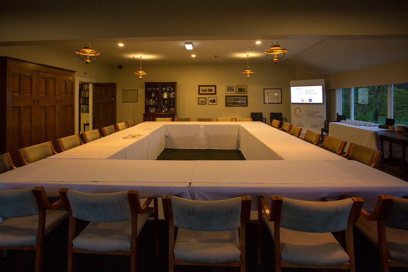 Early morning view of the upstairs meeting room of the clubhouse  on 26 October 2017 before  the 1st day of competition in the Asia-Pacific Amateur Championship tournament 2017 held at Royal Wellington Golf Club, in Heretaunga, Upper Hutt, New Zealand from 26 - 29 October 2017. Copyright John Mathews 2017.   www.megasportmedia.co.nz