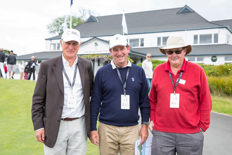 Joe Briden (Royal Wellington GC) with Simon Rutherford (Royal Auckland GC) and another spectator on the 1st day of competition in the Asia-Pacific Amateur Championship tournament 2017 held at Royal Wellington Golf Club, in Heretaunga, Upper Hutt, New Zealand from 26 - 29 October 2017. Copyright John Mathews 2017.   www.megasportmedia.co.nz