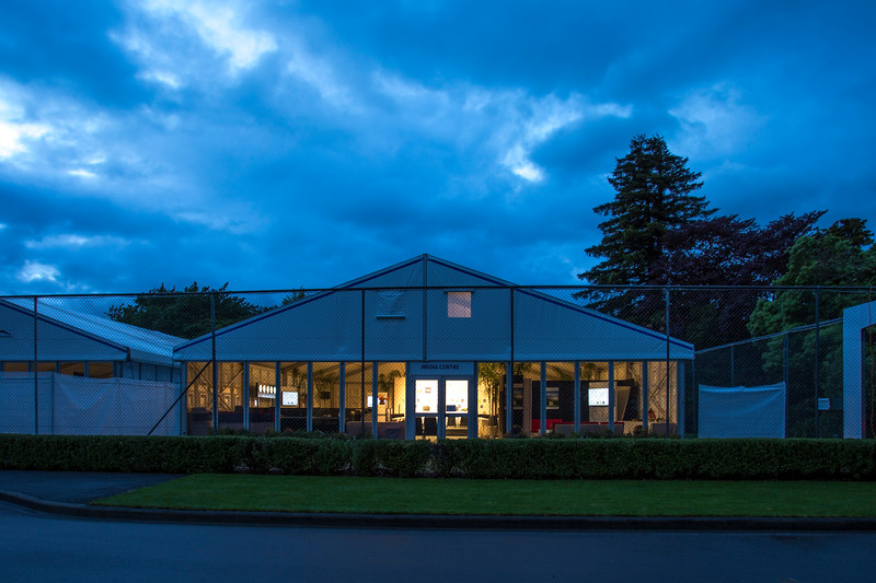 Early morning view of  the Media marquee on 26 October 2017 before  the 1st day of competition in the Asia-Pacific Amateur Championship tournament 2017 held at Royal Wellington Golf Club, in Heretaunga, Upper Hutt, New Zealand from 26 - 29 October 2017. Copyright John Mathews 2017.   www.megasportmedia.co.nz