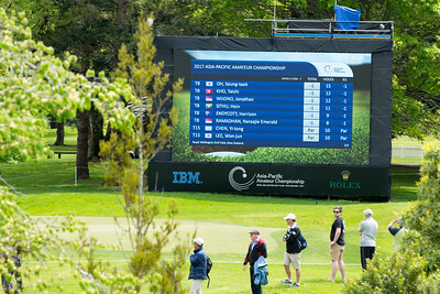 Scoreboard at midday on Day 1 of the Asia-Pacific Amateur Championship tournament 2017 held at Royal Wellington Golf Club, in Heretaunga, Upper Hutt, New Zealand from 26 - 29 October 2017. Copyright John Mathews 2017.   www.megasportmedia.co.nz