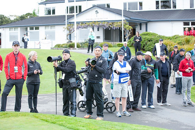 Media and spectators beside the 1st tee on  the 1st day of competition in the Asia-Pacific Amateur Championship tournament 2017 held at Royal Wellington Golf Club, in Heretaunga, Upper Hutt, New Zealand from 26 - 29 October 2017. Copyright John Mathews 2017.   www.megasportmedia.co.nz