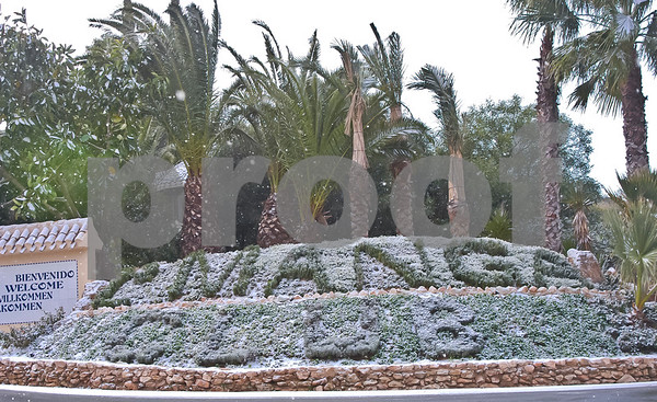 La Manga Club's entrance during the snowfall, 27th January 2005