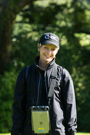 Volunteer walking scorer Susan Coppersmith on the 13th hole on the 12th hole on the 2nd day of competition  in the Asia-Pacific Amateur Championship tournament 2017 held at Royal Wellington Golf Club, in Heretaunga, Upper Hutt, New Zealand from 26 - 29 October 2017. Copyright John Mathews 2017.   www.megasportmedia.co.nz