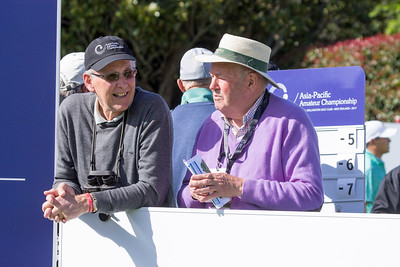 Peter Betteridge enjoying the action off the 1st tee on Day 3 of the Asia-Pacific Amateur Championship tournament 2017 held at Royal Wellington Golf Club, in Heretaunga, Upper Hutt, New Zealand from 26 - 29 October 2017. Copyright John Mathews 2017.   www.megasportmedia.co.nz