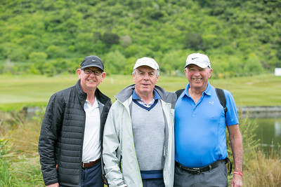 John Shewan, Peter Garty and Jim Sherwin  (golf and accounting fans) beside  the 4th green on the  final day of the Asia-Pacific Amateur Championship tournament 2017 held at Royal Wellington Golf Club, in Heretaunga, Upper Hutt, New Zealand from 26 - 29 October 2017. Copyright John Mathews 2017.   www.megasportmedia.co.nz