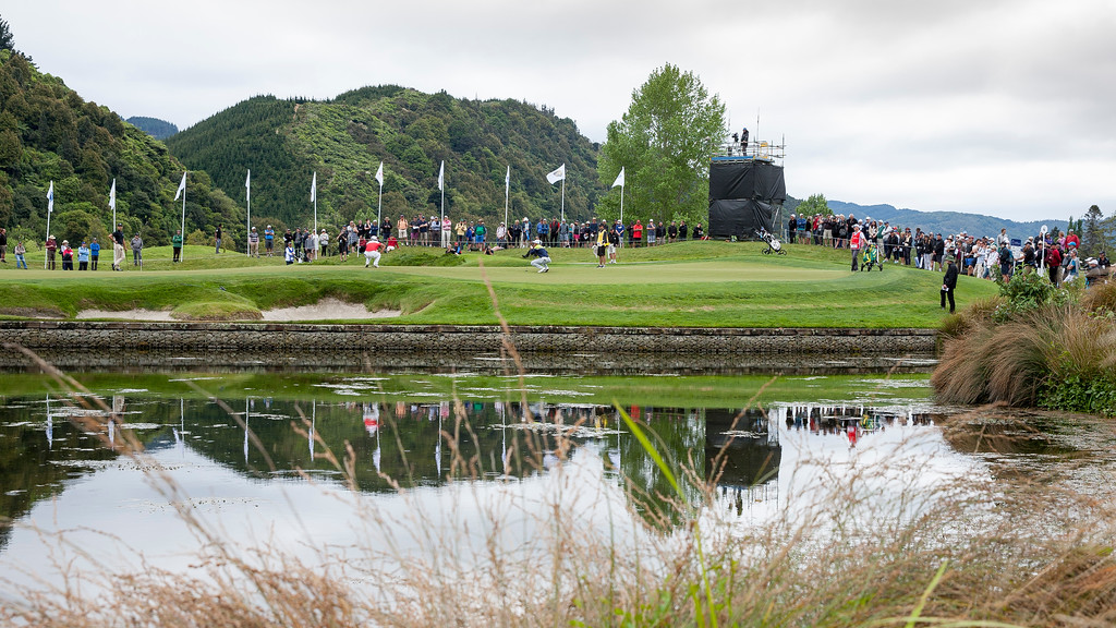 One of the leading groups putting out on the 4th green on the  final day of the Asia-Pacific Amateur Championship tournament 2017 held at Royal Wellington Golf Club, in Heretaunga, Upper Hutt, New Zealand from 26 - 29 October 2017. Copyright John Mathews 2017.   www.megasportmedia.co.nz