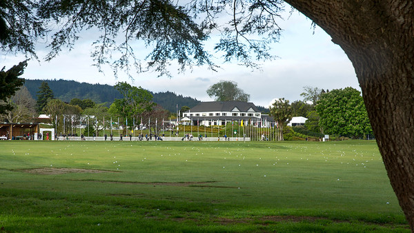 View of the practice range on the final day of the Asia-Pacific Amateur Championship tournament 2017 held at Royal Wellington Golf Club, in Heretaunga, Upper Hutt, New Zealand from 26 - 29 October 2017. Copyright John Mathews 2017.   www.megasportmedia.co.nz
